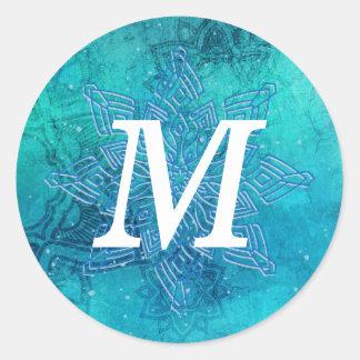 Mandala-Schneeflocke-weißer Runder Aufkleber