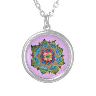Mandala-Silber überzogen ringsum Halskette