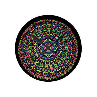 Mandala-Uhr Runde Wanduhr