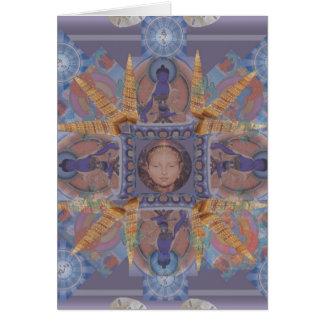 Mandala vom Meer. Sand-Dollar, Seeoberteile Grußkarten