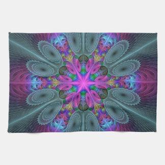 Mandala von der bunten Fraktal-Mittelkunst mit Handtuch