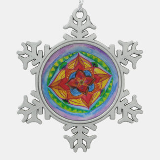 Mandala-Zinn-Schneeflocke-Dekoration Schneeflocken Zinn-Ornament