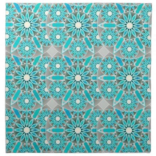 Mandalamuster t rkis silbernes grau und wei servietten for Tisch design servietten