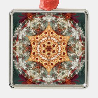 Mandalas vom Herzen der Freiheit 24 Geschenke Quadratisches Silberfarbenes Ornament