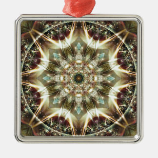 Mandalas vom Herzen von Änderung 10, Quadratisches Silberfarbenes Ornament