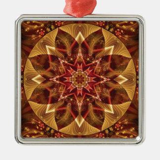 Mandalas vom Herzen von Änderung 15, Quadratisches Silberfarbenes Ornament