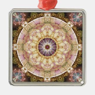 Mandalas vom Herzen von Änderung 2, Quadratisches Silberfarbenes Ornament