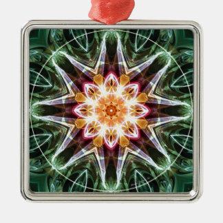 Mandalas vom Herzen von Änderung 5, Quadratisches Silberfarbenes Ornament