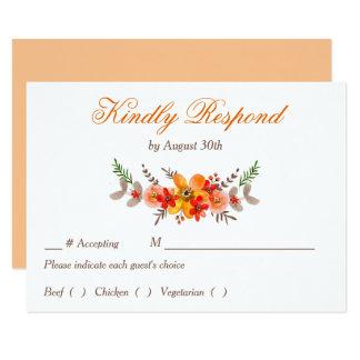 Mandarine-Blumenhochzeits-Proben-Abendessen UAWG Karte