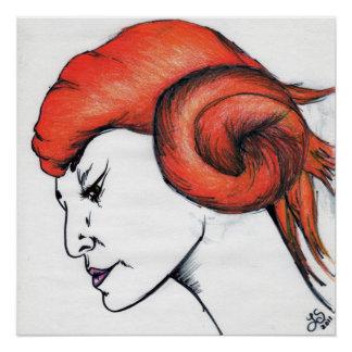 Mandarine-Frauen-Porträt-orange Poster