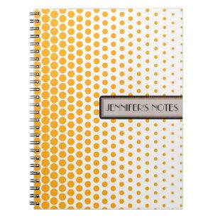 Mandarine-Polka-Punkt-elegantes modernes Weiß Notizblock