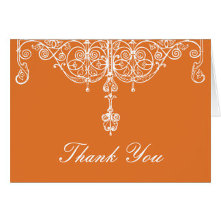Mandarine und weißer Scrollwork danken Ihnen zu Karte
