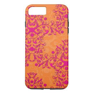 Mandarinetango-rosa und orange mit BlumeniPhone 7 iPhone 7 Plus Hülle