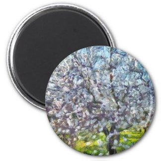 Mandel-Blüte Runder Magnet 5,7 Cm