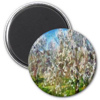 Mandel-Obstgarten-Blüte Runder Magnet 5,1 Cm