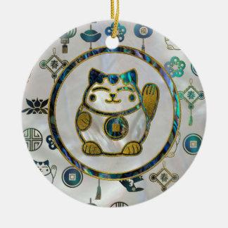 Maneki Neko glückliche Katze auf Perle und Keramik Ornament