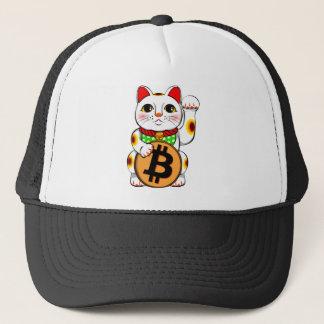 Maneki Neko glückliche Katze Bitcoin links Tatze Truckerkappe