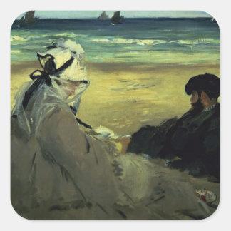 Manet | auf dem Strand, 1873 Quadratischer Aufkleber