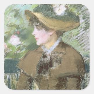 Manet | auf der Bank, 1879 Quadratischer Aufkleber