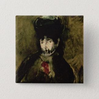 Manet | Berthe Morisot, die einen Schleier, 1872 Quadratischer Button 5,1 Cm