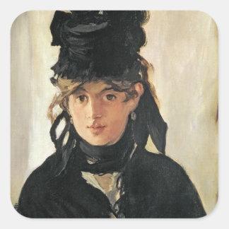 Manet | Berthe Morisot mit einem Blumenstrauß der Quadratischer Aufkleber