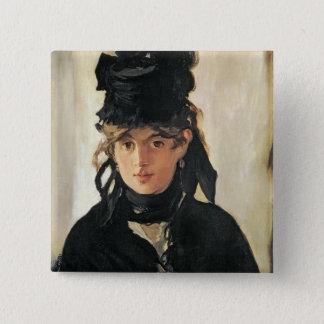 Manet | Berthe Morisot mit einem Blumenstrauß der Quadratischer Button 5,1 Cm