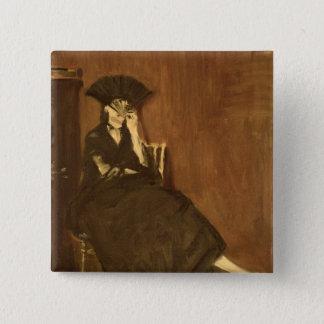 Manet | Berthe Morisot mit einem Fan, 1872 Quadratischer Button 5,1 Cm