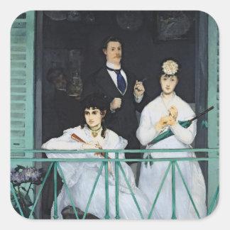 Manet | der Balkon, 1868-9 Quadratischer Aufkleber