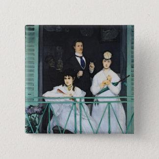 Manet | der Balkon, 1868-9 Quadratischer Button 5,1 Cm