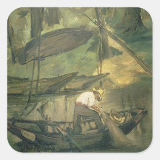 Manet | der Fischer, c.1861 Quadratischer Aufkleber