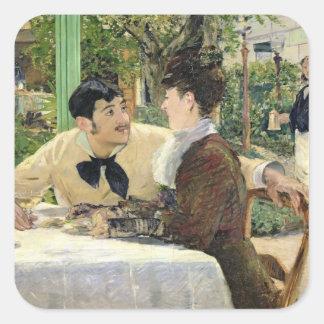 Manet | der Garten von Pere Lathuille, 1879 Quadratischer Aufkleber