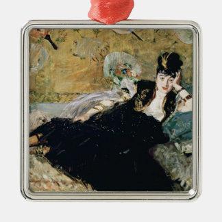 Manet | die Dame mit Fächern Quadratisches Silberfarbenes Ornament