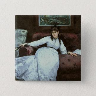 Manet | die Erholung, Porträt von Berthe Morisot Quadratischer Button 5,1 Cm
