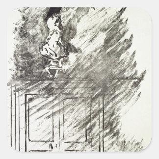 Manet | Illustration für 'das Raven Quadratischer Aufkleber