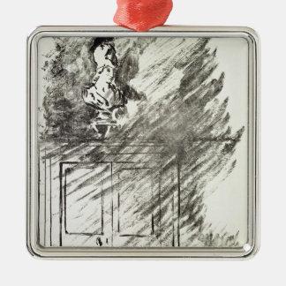 Manet   Illustration für 'das Raven Quadratisches Silberfarbenes Ornament