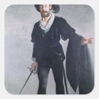 Manet | Jean Baptiste Faure als Hamlet, 1877 Quadratischer Aufkleber
