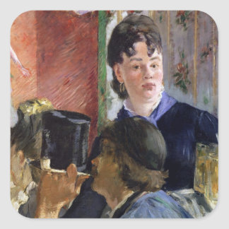 Manet | La Serveuse de Bocks, 1878-79 Quadratischer Aufkleber