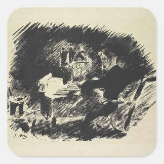 Manet | Le Corbeau, 1875 Quadratischer Aufkleber