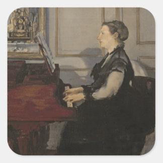 Manet | Madame Manet am Klavier, 1868 Quadratischer Aufkleber