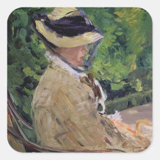 Manet | Madame Manet bei Bellevue Quadratischer Aufkleber