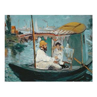 Manet   Monet in seinem sich hin- und Postkarte