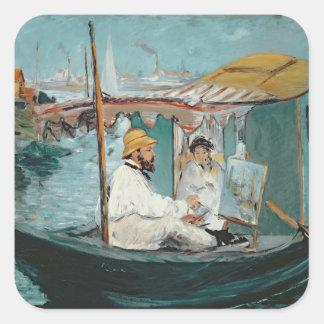 Manet | Monet in seinem sich hin- und Quadratischer Aufkleber