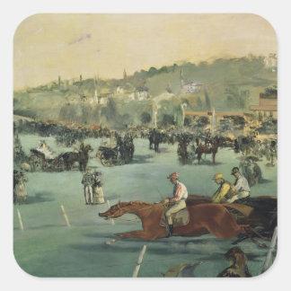 Manet | Pferderennen, 1872 Quadratischer Aufkleber