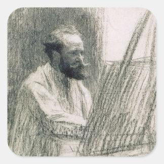 Manet | Porträt von Edouard Manet an seinem Quadratischer Aufkleber
