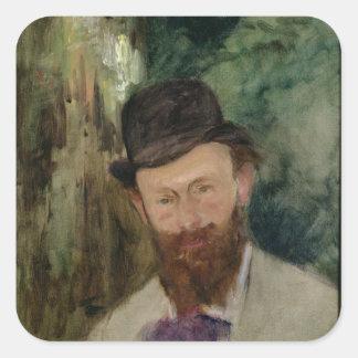 Manet | Porträt von Edouard Manet c.1880 Quadratischer Aufkleber