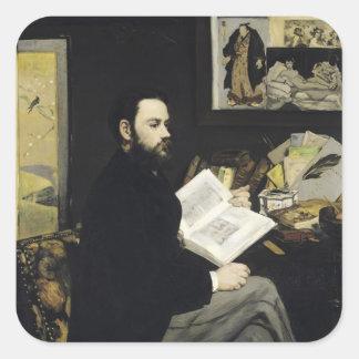 Manet | Porträt von Emile Zola 1868 Quadratischer Aufkleber