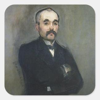 Manet | Porträt von Georges Clemenceau, 1879 Quadratischer Aufkleber