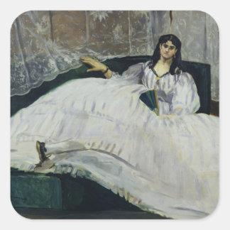 Manet | Porträt von Jeanne Duval, 1862 Quadratischer Aufkleber