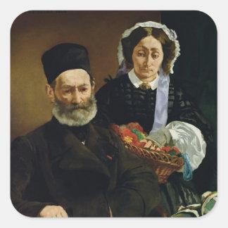 Manet | Porträt von M und von Frau Auguste Manet Quadratischer Aufkleber