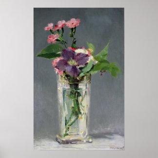 Manet | Rosa und Clematis in einem KristallVase, Poster